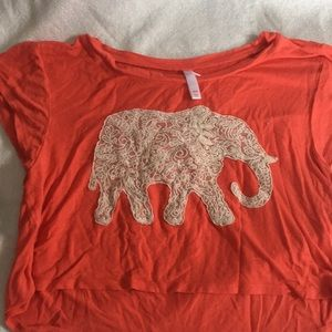 Tops - Red/ orange crop top with lace elephant